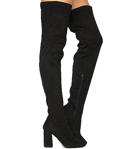 Nature Breeze Eve-01Th Black Suede Thigh High Chunky Heel Boot
