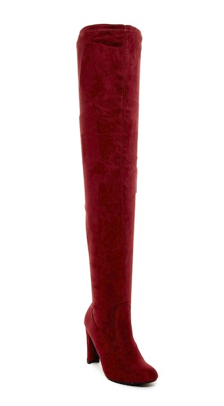 Nature Breeze Eve-01Th Burgundy Suede Thigh High Chunky Heel Boot