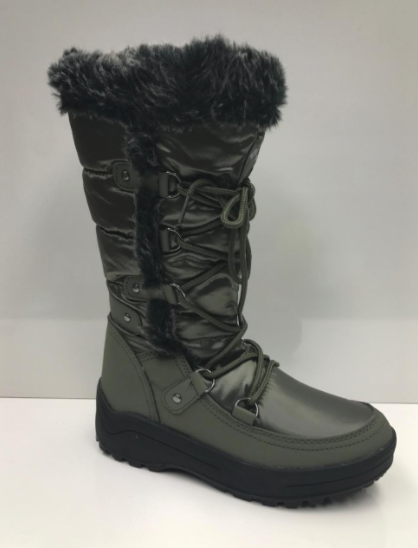 Nature Breeze Frost-01 Olive Snow Boots W/ Fur Lining