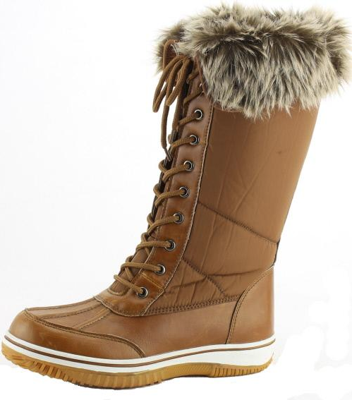 Nature Breeze Frost-02 Tan Snow Boots W/ Fur Lining And Option To Fold Over
