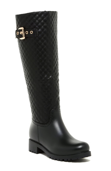 Nature Breeze Storm-02 Black Knee High Quilted Rain Boot W/ Gold Buckle Detail