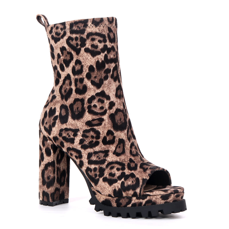Pazzle Natalie Leopard open Toe Ankle Bootie W/ Thick Heel and Platform