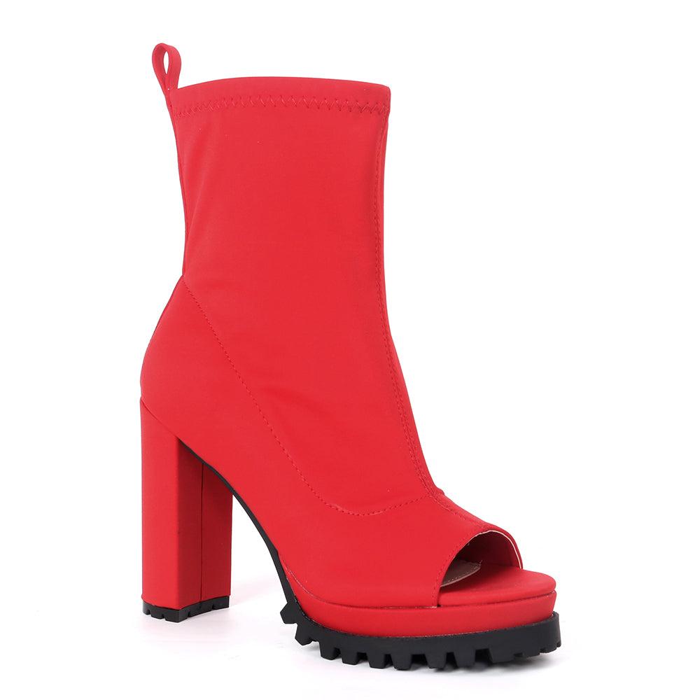 Pazzle Natalie Red open Toe Ankle Bootie W/ Thick Heel and Platform