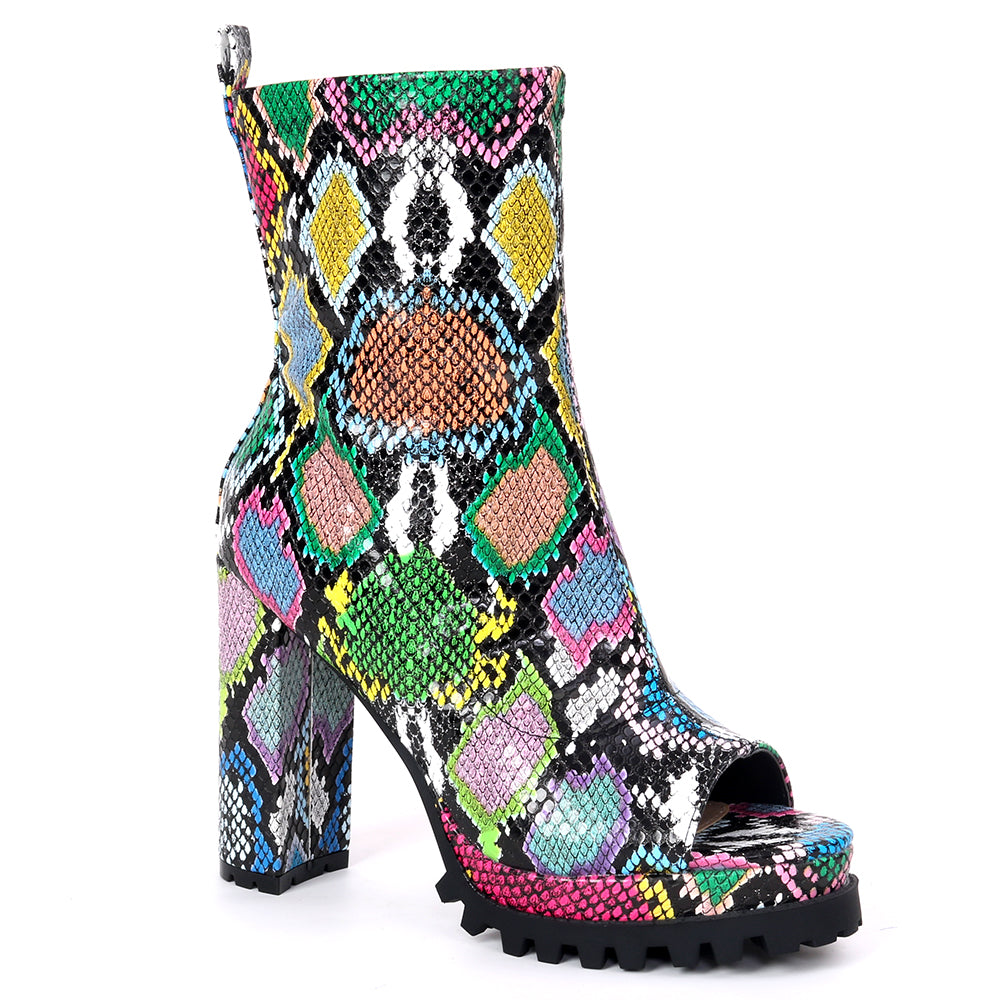 Pazzle Natalie Multi Snake open Toe Ankle Bootie W/ Thick Heel and Platform