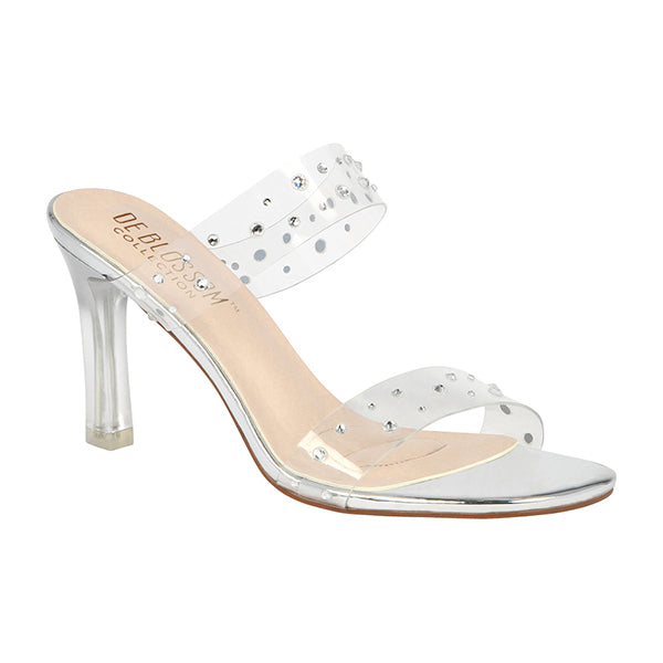 Blossom Neal-1 Silver Clear Two Strap Mule Heels With Rhinestones
