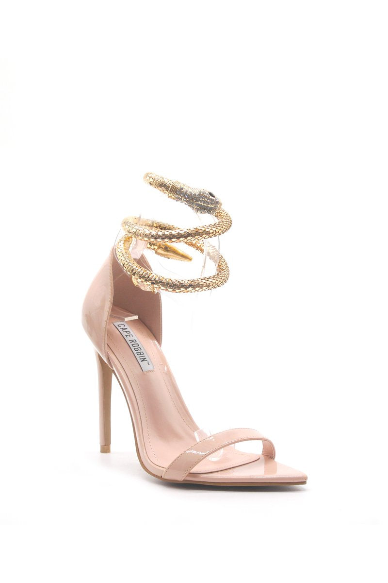 Cape Robbin Nikita Nude Open Pointed Toe Heel W/ Snake Wrapped around ankle