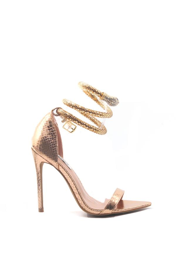 Cape Robbin Nikita Rose Gold Open Pointed Toe Heel W/ Snake Wrapped around ankle