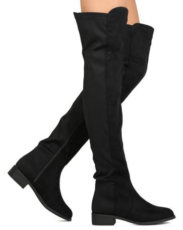 Nature Breeze Precise-01OK Over The Knee Black Suede Boot