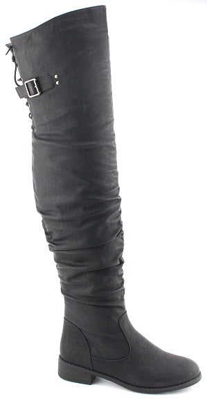 Nature Breeze Olympia-01 Black Pu Over the Knee Boot