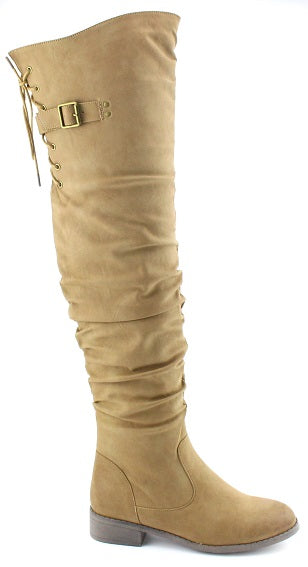 Nature Breeze Olympia-01 Camel Pu Over the Knee Boot
