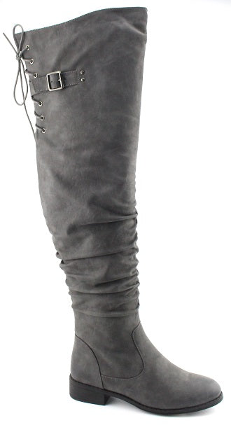 Nature Breeze Olympia-01 Grey Pu Over the Knee Boot