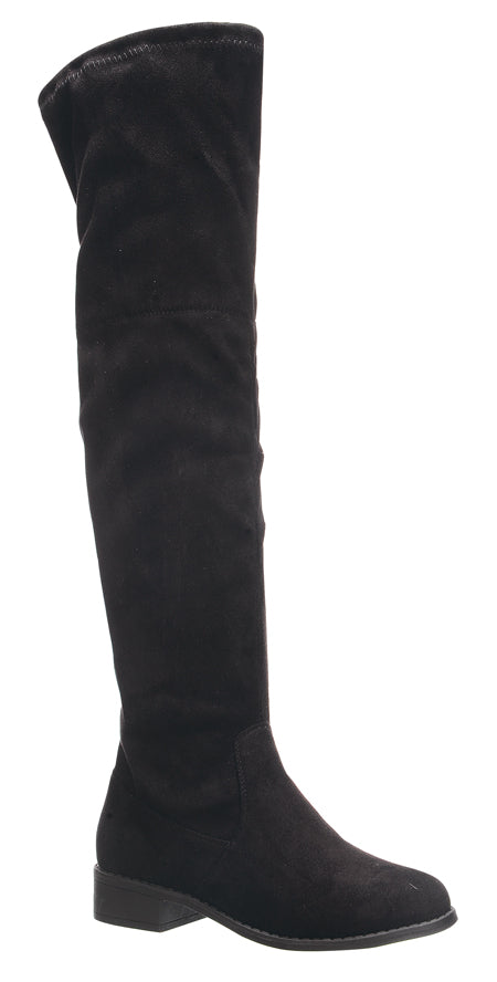 Nature Breeze Olympia-14OK Black Su Flat Over-the-Knee Boot