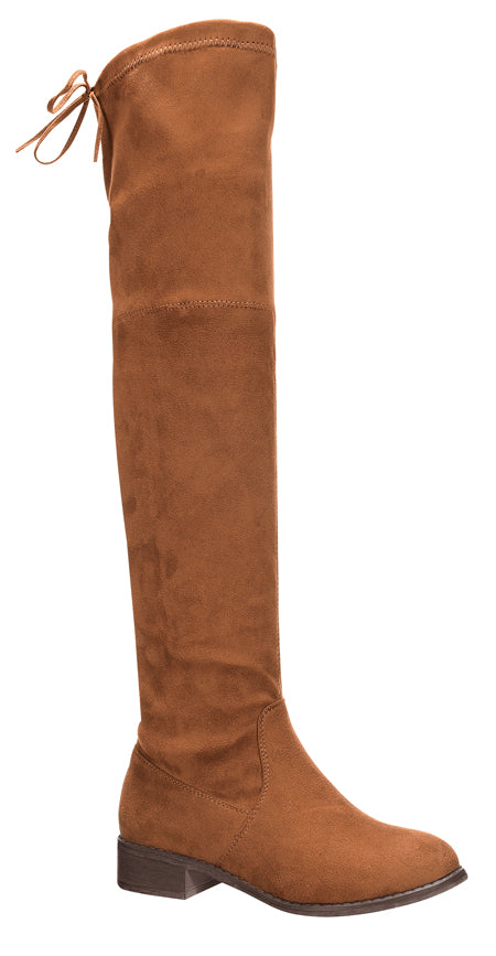 Nature Breeze Olympia-20TH Tan Su Flat Over-the-Knee Boot
