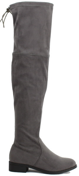 Nature Breeze Olympia-14OK Grey Su Flat Over-the-Knee Boot