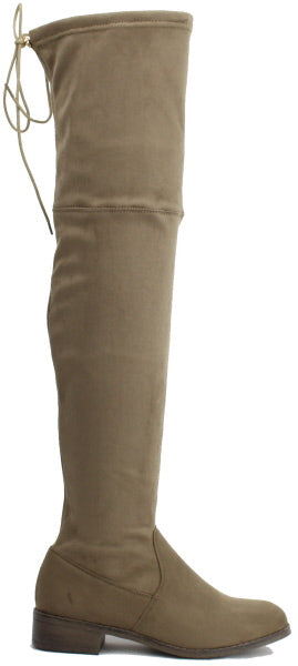 Nature Breeze Olympia-14OK Taupe Su Flat Over-the-Knee Boot