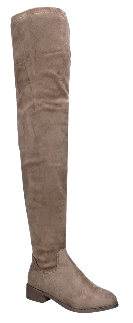 Nature Breeze Olympia-20TH Taupe Su Flat Over-the-Knee Boot