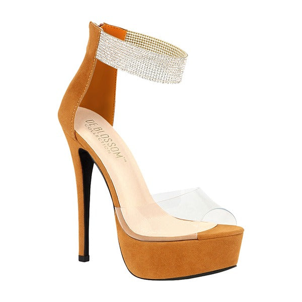 Blossom Flora-21 Camel Suede With Clear Strap And Rhinestone Strap Heel