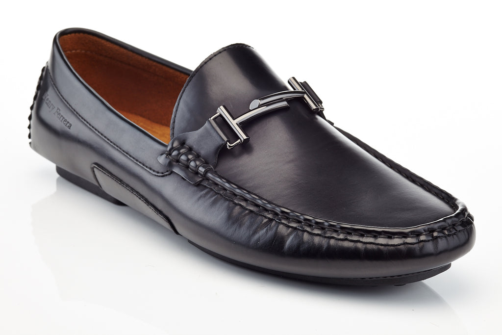15449ed61086e Henry Ferrera Prince Black Loafer with Buckle Men shoe