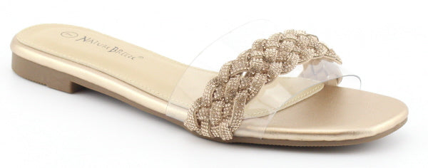 Nature Breeze R-4 Champagne Metal Clear Strap With Chain On Top Open Toe Sandal
