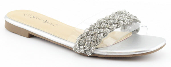 Nature Breeze R-4 Silver Metal Clear Strap With Chain On Top Open Toe Sandal