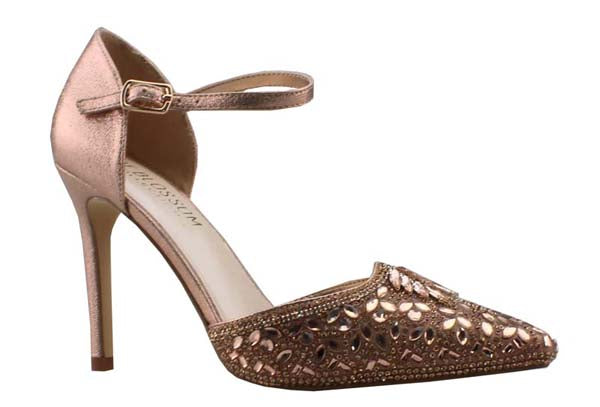 De Blossom Reese-1 Rose Gold Pointed Toe Rhinestone Heel