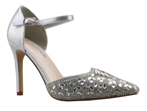 De Blossom Reese-1 Silver Pointed Toe Rhinestone Heel