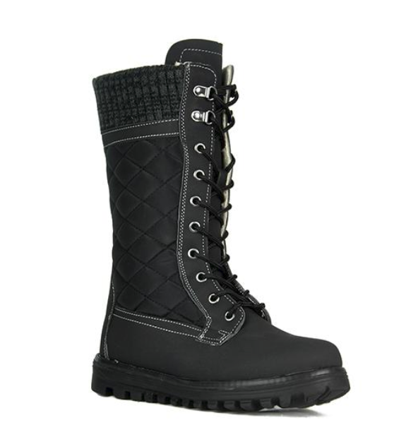 Refresh Polar-01 Black Mid Calf Lace Up Snow Boot
