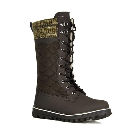 Refresh Polar-01 Brown Mid Calf Lace Up Snow Boot