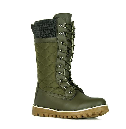 Refresh Polar-01 Khaki Mid Calf Lace Up Snow Boot