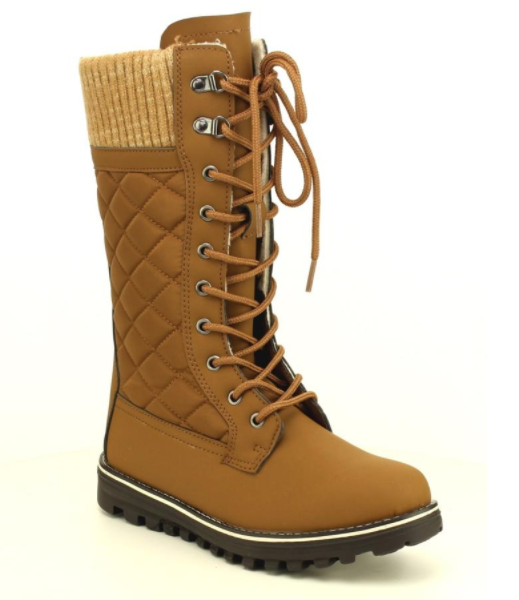 Refresh Polar-01 Tan Mid Calf Lace Up Snow Boot