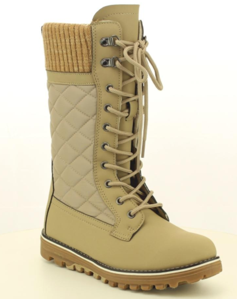Refresh Polar-01 Taupe Mid Calf Lace Up Snow Boot