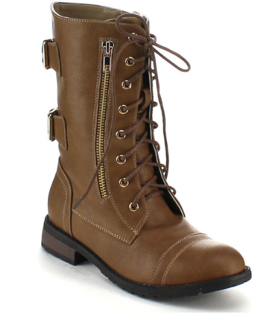 Refresh Terra-20 Taupe Combat Boot Mid Calf Lace Up W/ Back Buckles