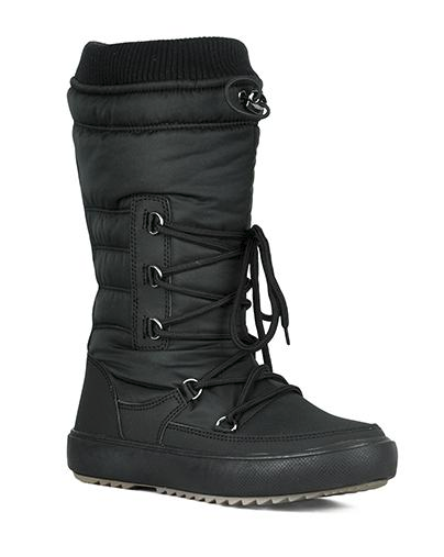 Refresh Youth-01 Black Snow Boots W/ Sherpa Lining