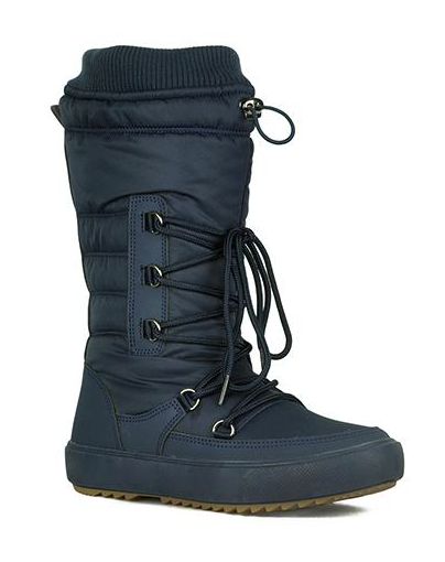 Refresh Youth-01 Navy Blue Snow Boots W/ Sherpa Lining