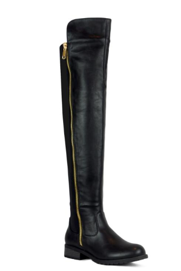 Refresh Zoey-01 Black OTK Riding Boots Stretch/Leather Mix W/ Gold Zipper Detail