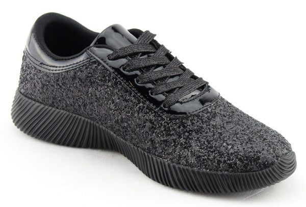 Nature Breeze Rosemarie-01 Black Sparkly Sneaker