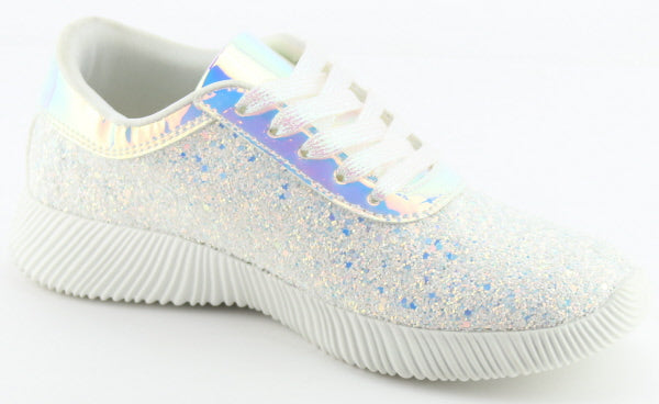 Nature Breeze Rosemarie-01 White Sparkly Sneaker