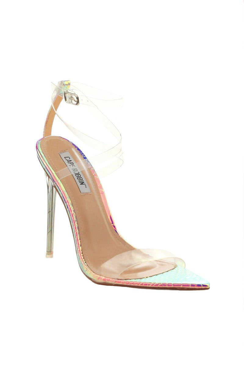 Cape Robbin Skins Iridescent Open Pointed Toe Heel w/ Clear Strap