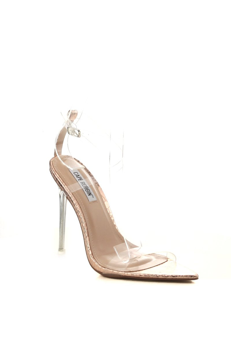 Cape Robbin Skins Rose Gold Open Pointed Toe Heel w/ Clear Strap
