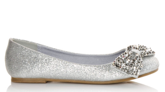 Soda Easier-11s Silver Glitter Kids Ballet Flat With Bow