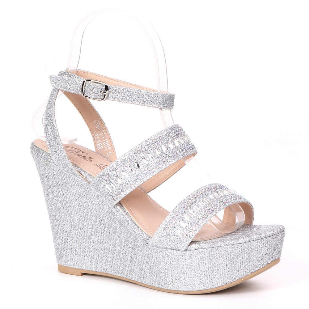 Bella Luna Stylo-01 Silver Wedge With 2 Straps Across the front