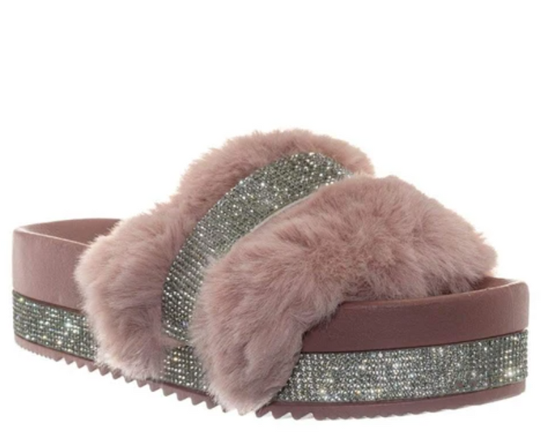 Bamboo Nighttime-02 Blush One Band Fur With Stones