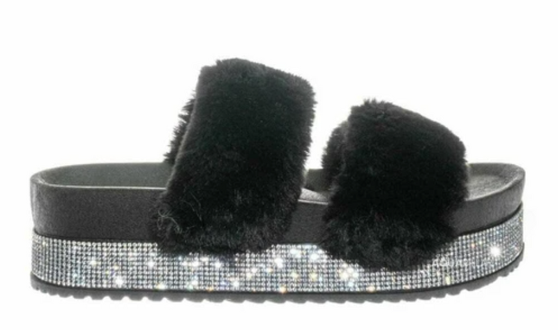 Bamboo Nighttime-03 Black Double Band Fur With Rhinestone Sole