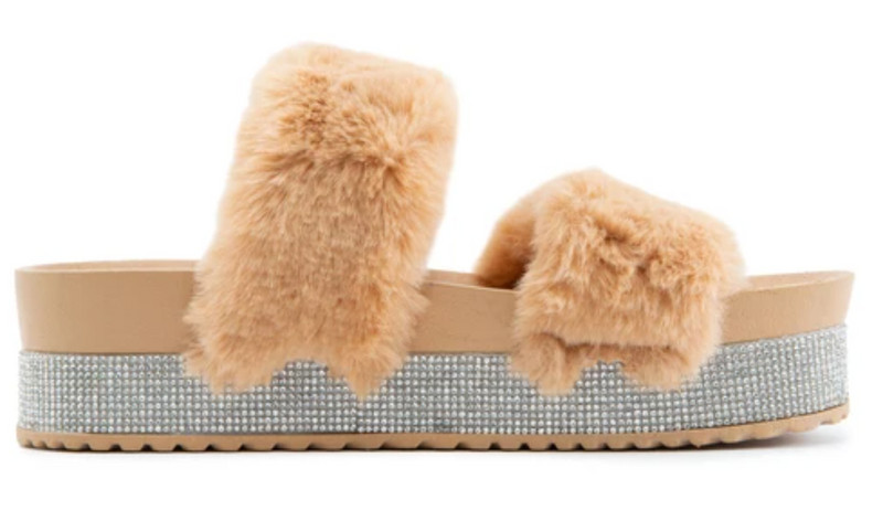 Bamboo Nighttime-03 Camel Double Band Fur With Rhinestone Sole