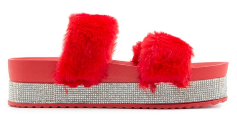 Bamboo Nighttime-03 Red Double Band Fur With Rhinestone Sole