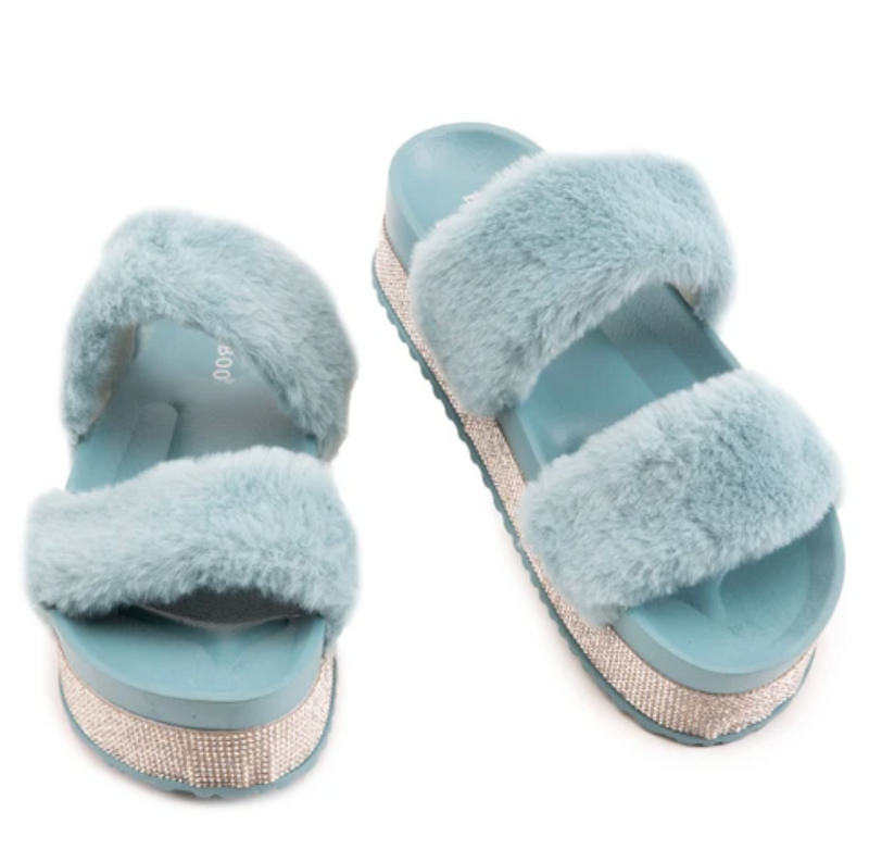 Bamboo Nighttime-03 Sage Double Band Fur With Rhinestone Sole