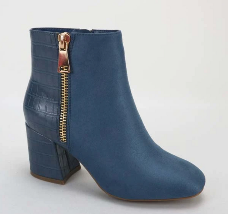 Bamboo Moody-03 Blue Crocodile Two Tone Side Zipper Bootie