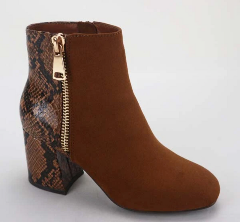 Bamboo Moody-03 Tobacco Suede Two Tone Side Zipper Bootie
