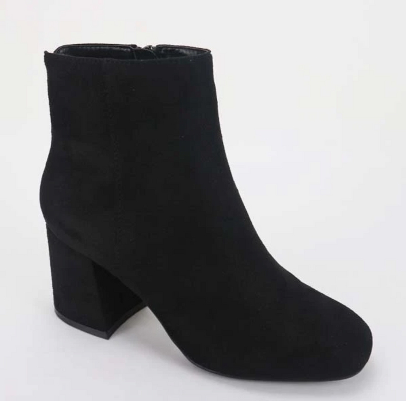 Bamboo Moody-01 Black Suede Square Toe Bootie