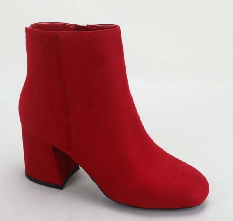 Bamboo Moody-01 Red Suede Square Toe Bootie